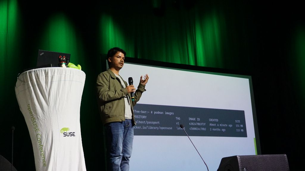Me, presenting how we use openSUSE MicroOS at La Sentinelle. Photo courtesy, Saputro Aryulianto.