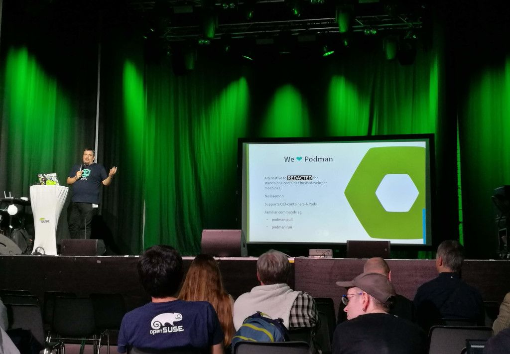 "Richard Brown presenting ""openSUSE MicroOS - A new distro for a new age"""