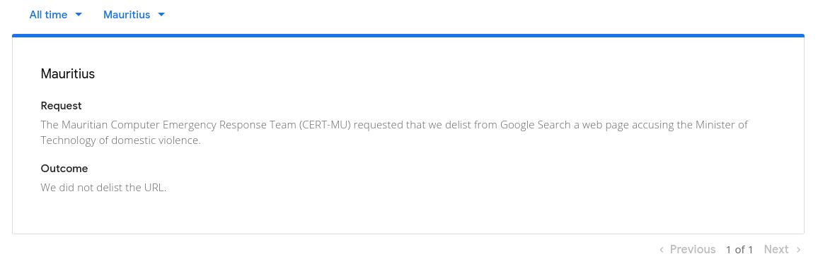 Google Transparency Report - CERT-MU