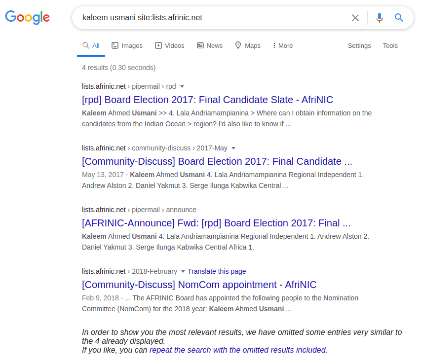 Google search result screenshot - Kaleem Usmani's zero partition in the AFRINIC mailing lists