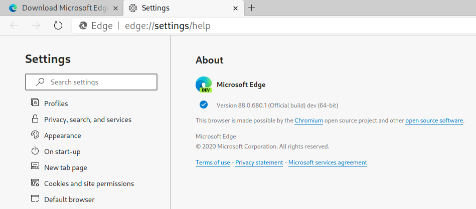 Microsoft Edge build version 88.0.680.1