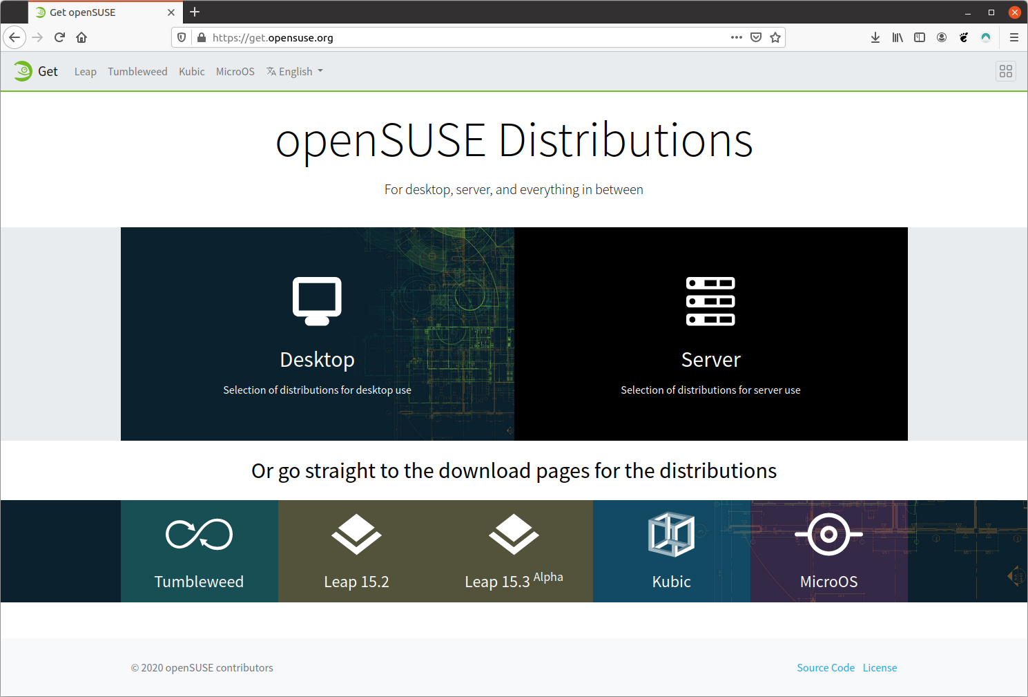openSUSE distributions dedicated page