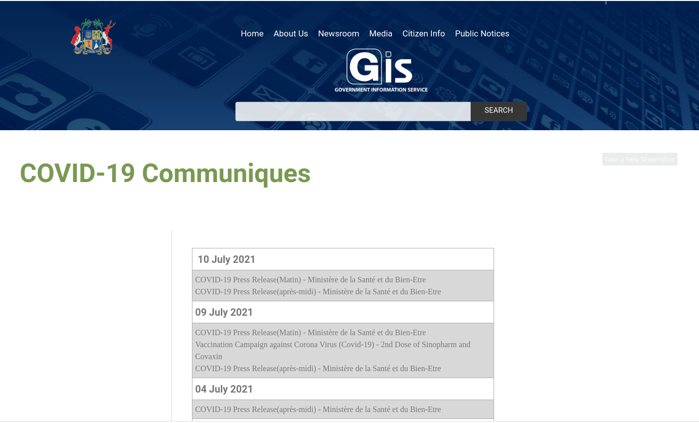 Website of the Government Information Service