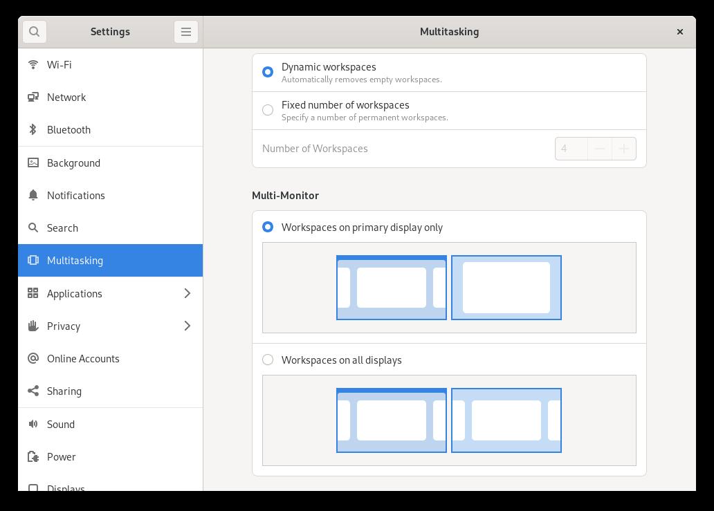 Multitasking panel in the GNOME Control Centre