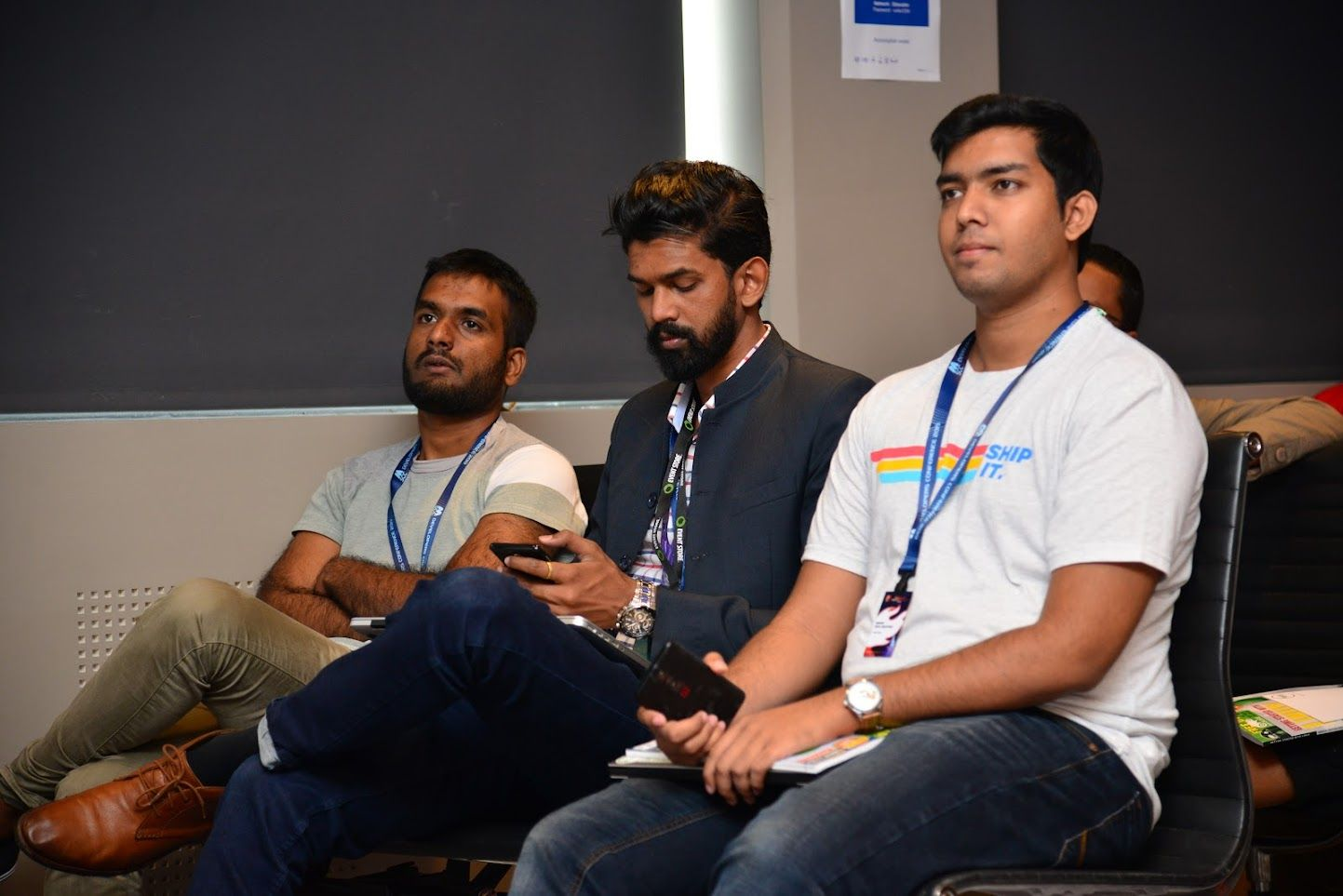 Chittesh daydreaming, Nirvan not paying attention and Neil pretending to follow the presentation :D
